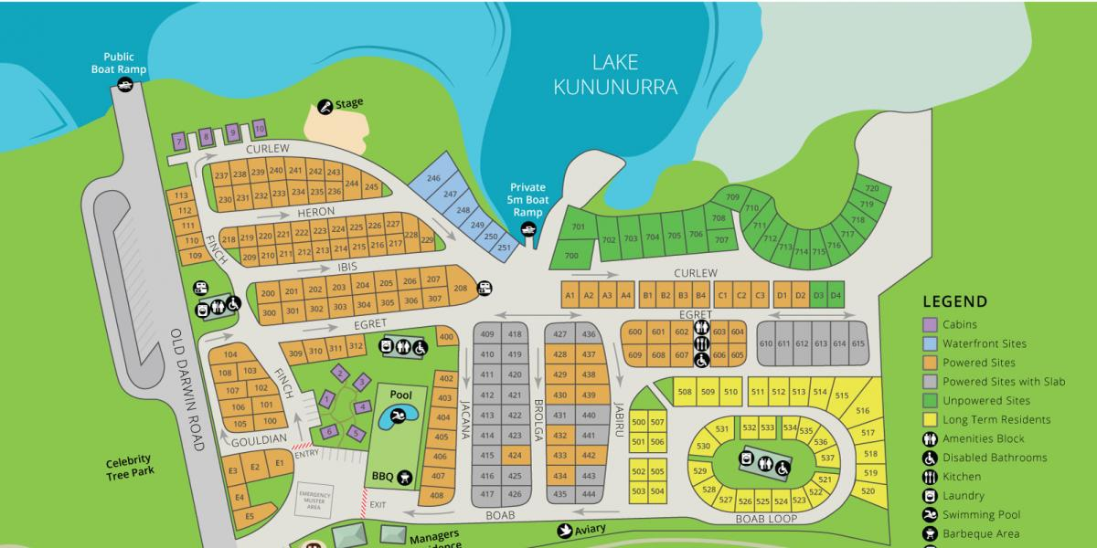 Park Map Kimberleyland Waterfront Holiday Park