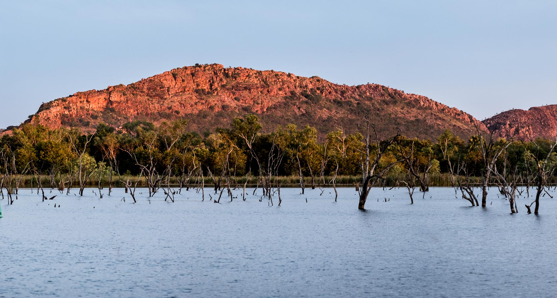 Vista from the New Deluxe Waterfront Cabins at Kimberleyland Holiday Park Kununurra