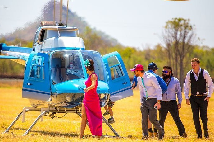 Helicopter Arrival at the Kununurra Race Club
