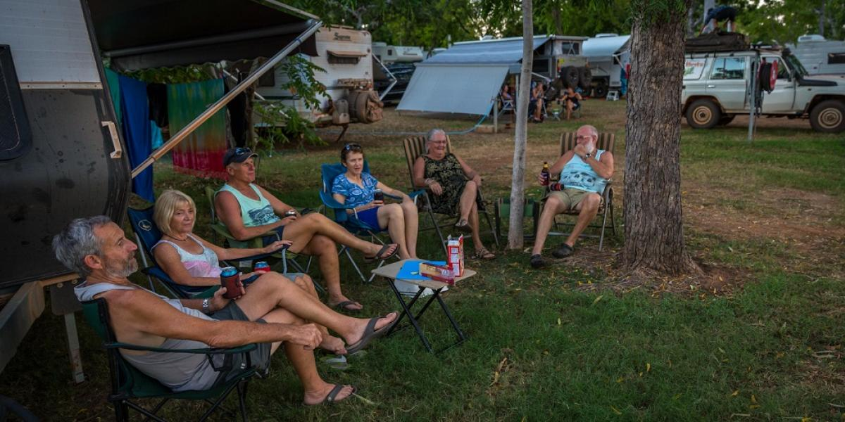 Grey Nomads Socialising Caravan Park Kununurra