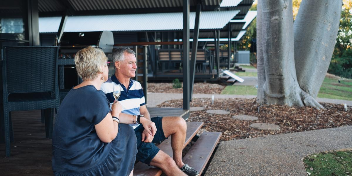 Relax on the Steps of your private cabin Kununurra, Kimberleyland Waterfront Holiday Park