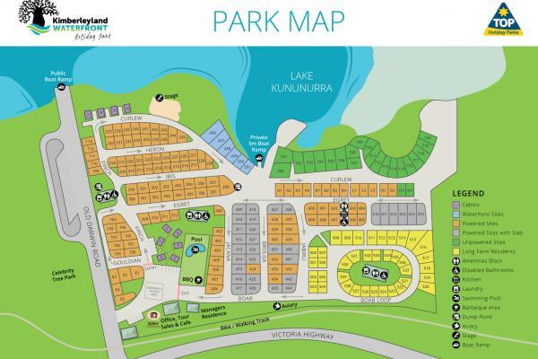 Kimberleyland Caravan Park Map