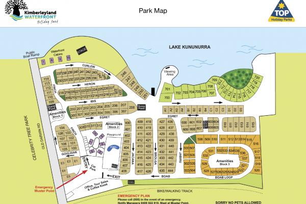 Park Map of Caravan, Camping and Cabins